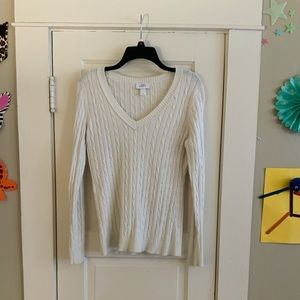 Loft off white v neck cable knit sweater